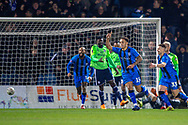 Gillingham FC midfielder Elliott List (15) scores a goal (1-0) and celebrates during the The FA Cup 3rd round match between Gillingham and Cardiff City at the MEMS Priestfield Stadium, Gillingham, England on 5 January 2019. Photo by Martin Cole.