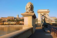 Szecheni Lanchid ( Chain Bridge ). Suspension bridge over the Danube betwen Buda & Pest. Budapest Hungary .<br /> <br /> Visit our HUNGARY HISTORIC PLACES PHOTO COLLECTIONS for more photos to download or buy as wall art prints https://funkystock.photoshelter.com/gallery-collection/Pictures-Images-of-Hungary-Photos-of-Hungarian-Historic-Landmark-Sites/C0000Te8AnPgxjRg