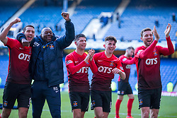 Kilmarnock players celebrate at the of the Ladbrokes Scottish Premiership match at Ibrox Stadium, Glasgow.