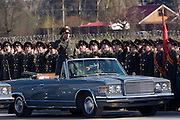 Albina, Russia, 22/04/2008..An officer takes the salute as Russian soldiers practice for the forthcoming 63rd Victory Day celebrations on May 9, marking the end of the Second World War, referred to in Russia as the Great Patriotic War.