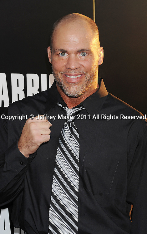 """HOLLYWOOD, CA - SEPTEMBER 06: Kurt Angle attends  the """"Warrior"""" Los Angeles Premiere at the ArcLight Cinemas on September 6, 2011 in Hollywood, California."""