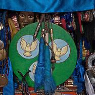 Mongolia. shamanic drum in the yurt of  Mme Tserendolgor,  master shaman  . Ulaan baatar