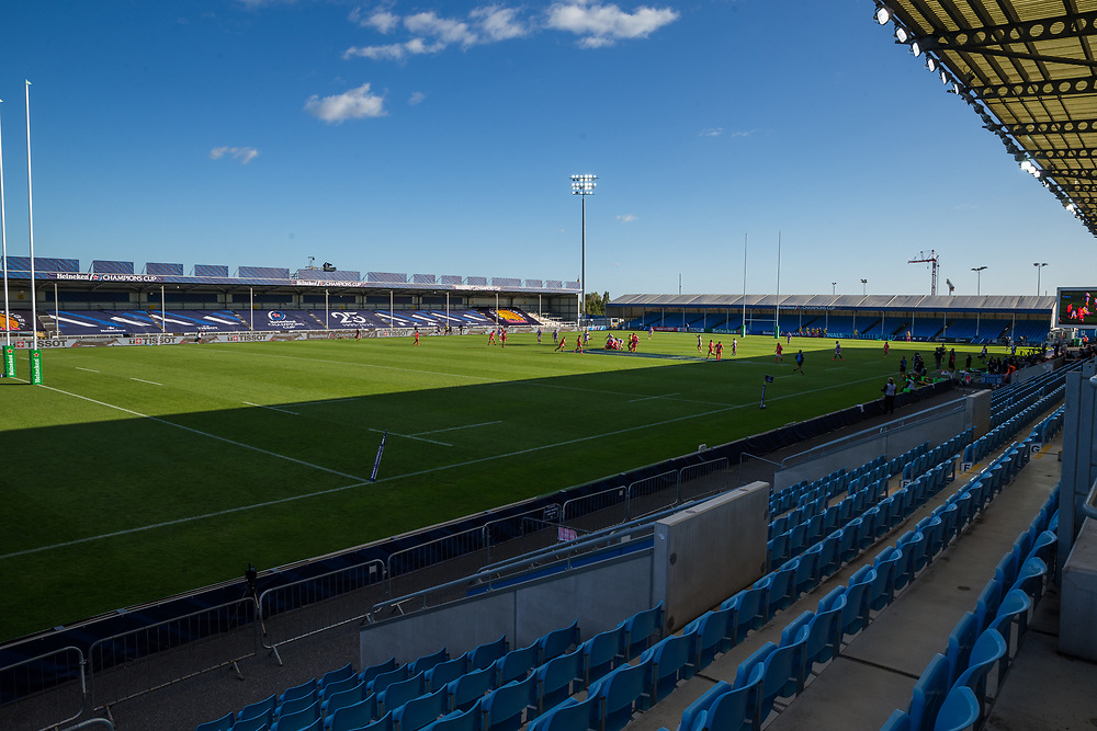 A general view of Sandy Park, home of Exeter Chiefs<br /> <br /> Photographer Bob Bradford/CameraSport<br /> <br /> European Rugby Heineken Champions Cup Semi-Final - Exeter Chiefs v Toulouse - Saturday 26th September 2020 - Sandy Park - Exeter<br /> <br /> World Copyright © 2019 CameraSport. All rights reserved. 43 Linden Ave. Countesthorpe. Leicester. England. LE8 5PG - Tel: +44 (0) 116 277 4147 - admin@camerasport.com - www.camerasport.com