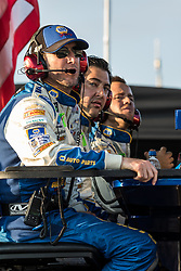October 7, 2018 - Dover, DE, U.S. - DOVER, DE - OCTOBER 07: Alan Gustafson crew chief for the #9 Hendrick Motorsports Chevrolet sit above the pit box watching after a late race caution in the Gander Outdoors 400 on October 07, 2018, at Dover International Speedway in Dover, DE. (Photo by David Hahn/Icon Sportswire) (Credit Image: © David Hahn/Icon SMI via ZUMA Press)