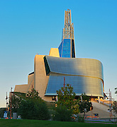 Canadian Museum for Human Rights (CMHR) at sunset<br /> Winnipeg<br /> Manitoba<br /> Canada