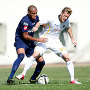 istanbulspor's Mehmet Can Kasap (R) and Kasimpasa's Pablo Caser Pintos Cabral (L) during their Turkey Cup second leg soccer match istanbulspor between Kasimpasa at the Bahcelievler Stadium at istanbul Turkey on wednesday, 26 September 2012. Photo by TURKPIX