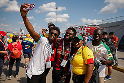 June 19, 2018 - Moscou, Rússia - MOSCOU, MO - 19.06.2018: POLAND VS SENEGAL - Senagal fans take photo in front of the stadium subway station before Poland-Senegal match valid for the first round of Group H of the 2018 World Cup held at the Otkrytie Arena in Moscow, Russia. (Credit Image: © Marcelo Machado De Melo/Fotoarena via ZUMA Press)