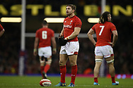 Leigh Halfpenny of Wales prepares to kick a penalty. Wales v Scotland, NatWest 6 nations 2018 championship match at the Principality Stadium in Cardiff , South Wales on Saturday 3rd February 2018.<br /> pic by Andrew Orchard, Andrew Orchard sports photography