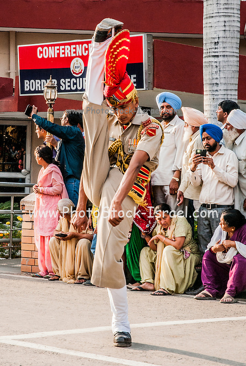 The Wagah border closing 'lowering of the flags' ceremony, a daily military practice at the India-Pakistan border near Amritsar, India.