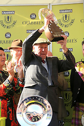 File photo dated 11-04-2015 of Many Clouds owner Trevor Hemmings (right) celebrates after victory in the Crabbie's Grand National Chase during Grand National Day of the Crabbies Grand National Festival at Aintree Racecourse, Liverpool. Trevor Hemmings, one of jump racing's greatest supporters and the owner of three Grand National winners, has died at the age of 86. Issue date: Tuesday October 12, 2021.