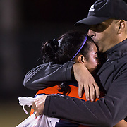 November 2, 2016; Coach hugs player after loss at Fullerton College vs UC Irvine Womens Soccer Semi Final at Big West Conference at LBSU ; Long Beach, CA;  <br /> © photo by Catharyn Hayne/Sport Shooter Academy