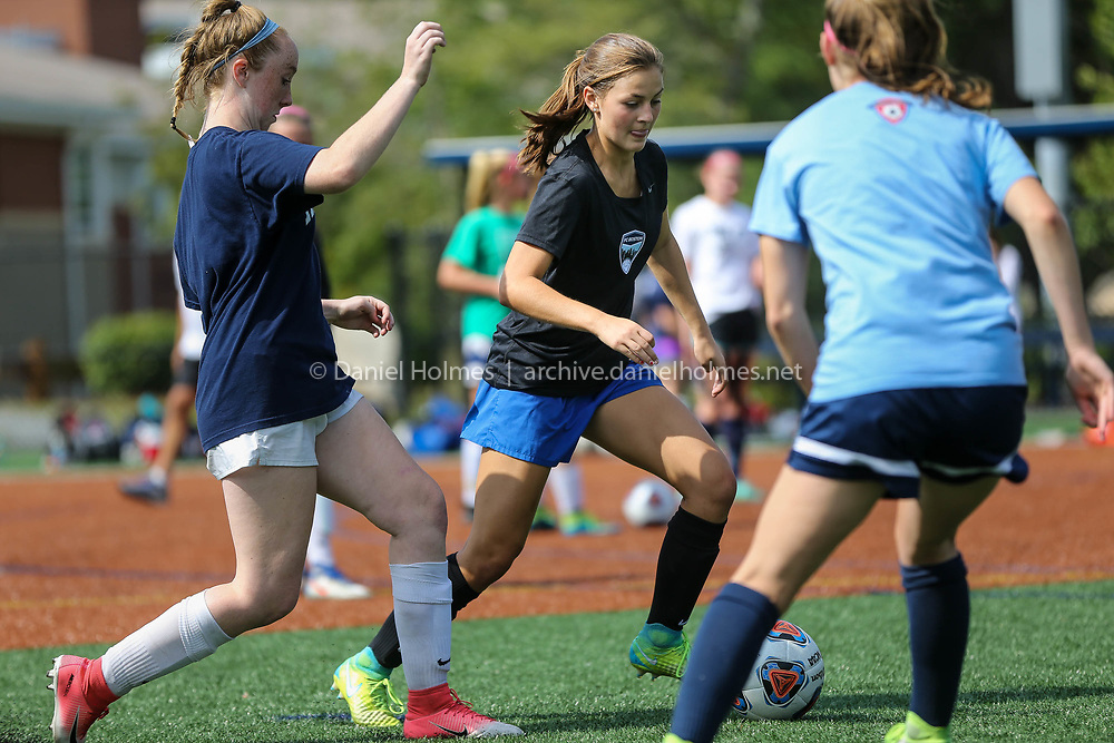 (8/25/17, MEDWAY, MA) Captain Abby Murphy does some drills during soccer practice at Medway High School on Friday. [Daily News and Wicked Local Photo/Dan Holmes]