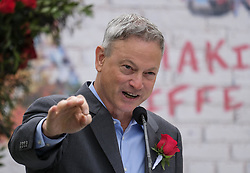 October 30, 2017 - Pasadena, California, U.S - Actor GARY SINISE waves to the media after being introduced as the Grand Marshal for 129th Tournament of Roses parade at Tournament House on Monday. Sinise will serve as grand marshal of the 2018 Rose Parade, which will feature the theme ''Making a Difference'' on New Year's Day in Pasadena on Jan. 1, 2018.(Credit Image: © Ringo Chiu via ZUMA Wire)