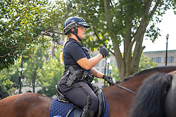 "EXCLUSIVE: Worchester Mounted police department officer, Elizabeth Rooney, now fiance of Rosie O'Donnell. Rooney on her horse named, ""Major"" in Worchester, MA. 04 Oct 2018 Pictured: Elizabeth Rooney. Photo credit: Richard Harbus / MEGA TheMegaAgency.com +1 888 505 6342"
