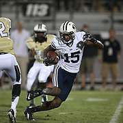 ORLANDO, FL - OCTOBER 09: DUPLICATE***Hayden Griffitts #15 of the Brigham Young Cougars runs the football against Jacoby Glenn #12 of the UCF Knights at Bright House Networks Stadium on October 9, 2014 in Orlando, Florida. (Photo by Alex Menendez/Getty Images) *** Local Caption *** Hayden Griffitts; Jacoby Glenn