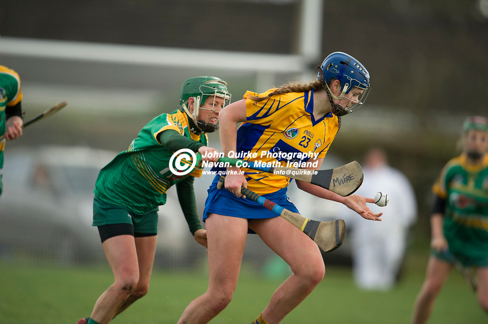 26-02-17. Meath v Clare - Littlewoods Ireland National Camogie League Division 1 Group 2 at Kilcloon.<br /> Aine O'Loughlin, Clare getting the ball ahead of Marie Kirby, Meath.<br /> Photo: John Quirke / www.quirke.ie<br /> ©John Quirke Photography, Unit 17, Blackcastle Shopping Cte. Navan. Co. Meath. 046-9079044 / 087-2579454.