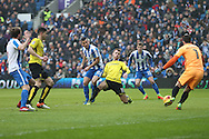 Brighton & Hove Albion centre forward Tomer Hemed (10) scores a goal 1-0 during the EFL Sky Bet Championship match between Brighton and Hove Albion and Burton Albion at the American Express Community Stadium, Brighton and Hove, England on 11 February 2017.