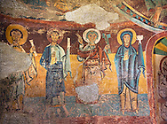 Twelfth century Romanesque frescoes of the Apse of Ginestarre depicting, from right to left, The Virgin Mary, Peter and the Apostles, from the church of Santa Maria de Ginestarre, Catalonia, Spain. National Art Museum of Catalonia, Barcelona. MNAC 15971 ..<br /> <br /> If you prefer you can also buy from our ALAMY PHOTO LIBRARY  Collection visit : https://www.alamy.com/portfolio/paul-williams-funkystock/romanesque-art-antiquities.html<br /> Type -     MNAC     - into the LOWER SEARCH WITHIN GALLERY box. Refine search by adding background colour, place, subject etc<br /> <br /> Visit our ROMANESQUE ART PHOTO COLLECTION for more   photos  to download or buy as prints https://funkystock.photoshelter.com/gallery-collection/Medieval-Romanesque-Art-Antiquities-Historic-Sites-Pictures-Images-of/C0000uYGQT94tY_Y