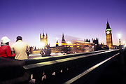 Westminster bridge at blue hour on a winter day, London