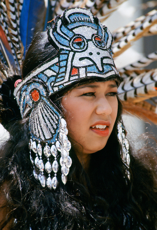 Mexican Aztec Indian in traditional costume, USA