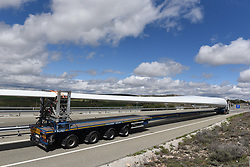 May 3, 2019 - Alcolea Del Pinar, Guadalajara, Spain - Special transport truck is seen transporting a blade of a wind turbine on a highway near the small village of Alcolea del Pinar. (Credit Image: © John Milner/SOPA Images via ZUMA Wire)