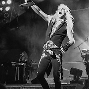 ALLENTOWN - JUNE 18: Poison lead singer Bret Michaels performs at the Allentown Fairgrounds on June 18, 1993, in Allentown, Pennsylvania. (Photo by Lisa Lake/Getty Images)