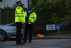 Licensed to London News Pictures. 23/09/2020. London, UK. Police guard a crime scene after 10 officers are believed to have suffered injuries by a suspected corrosive substance in Dale Close, Barnet, north London.At around 13:50hrs on Wednesday, 23 September, officers attended an industrial area to execute a drugs warrant as part of a proactive operation. As they executed the warrant, officers were injured. Officers received medical treatment and have gone to hospital. However none are believed to be in a life-threatening condition. A number of males were arrested on suspicion of drug offences at this stage.<br /> They have been taken to hospital having also suffered injuries related to the substance. Their conditions are not believed to be life-threatening. Photo credit: Marcin Nowak/LNP