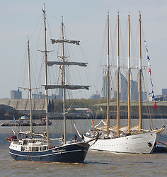 © Licensed to London News Pictures. 12/04/2017. Greenwich, UK. Tall ships from around the world have started to assemble at Greenwich for a Tall Ships regatta over the Easter weekend. Photo credit : Rob Powell/LNP