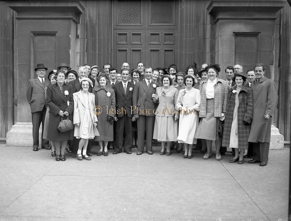 24/9/1952<br /> 9/24/1952<br /> 24 September 1952<br /> <br />  Wedding of Miss O'Dwyer at North William St. Church the Bride and Groom with their Families