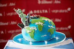 Delta cake. Delta launching year-round nonstop service from Edinburgh to New York-JFK today at Edinburgh Airport.