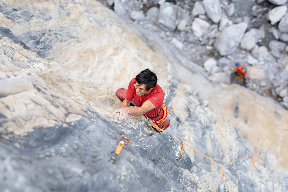 Evan Hau climbing his new route Cobalt Gecko, 5.14 c/d at Planet X in Canmore, AB