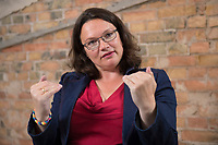 23 AUG 2014, BERLIN/GERMANY:<br /> Andrea Nahles, SPD, Bundesarbeitsministerin, waehrend einem Interview, EUREF-Campus<br /> IMAGE: 20140823-01-027