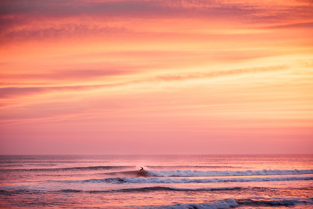 Surfer catching a wave, surrounded by pink and orange sky reflecting in the sea and waves at sunset at St Ouen's Bay, Jersey, Channel Islands