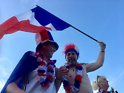 15 July 2018. Montreuil Sur Mer, France.<br /> World Cup celebrations in France.<br /> The ancient citadel town of Montreuil Sur Mer erupts into scenes of euphoric celebration as France beats Croatia 4-2 to win the World Cup for the second time.<br /> Photo©; Charlie Varley/varleypix.com