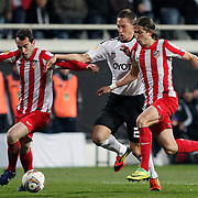 Besiktas's Filip Holosko (C) during their UEFA Europa League Round of 16, Second leg soccer match Besiktas between Atletico Madrid at Inonu stadium in Istanbul Turkey on Thursday March 15, 2012. Photo by TURKPIX