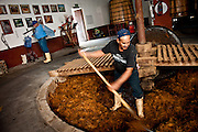 """Workers at the Tequila Fortaleza distillery rake agave fibers from the milling pit where they have been crushed by a four-ton milling stone called a """"tahona."""" Tequila Fortaleza, owned by Guillermo Erickson Sauza, one of the last distilleries to produce tequila using artisanal methods."""