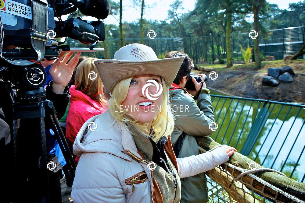 HILVARENBEEK - In Safaripark Beekse Bergen opende Britt Dekker het nieuwe tijgerverblijf. FOTO LEVIN DEN BOER - PERSFOTO.NU