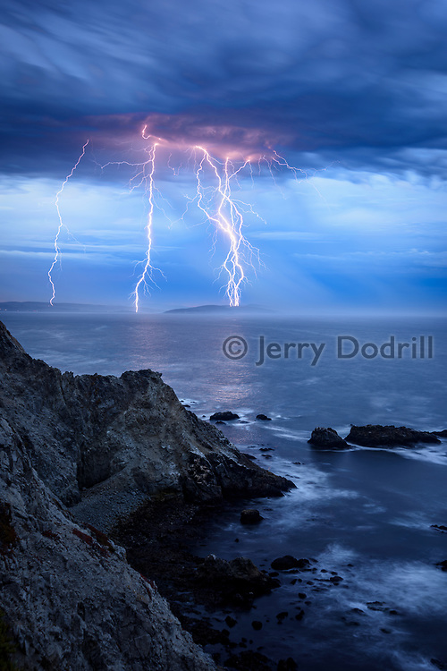 Lightning bolts slam into Point Reyes National Seashore during a summer storm that started wildfires across Northern California on Sunday, August 16, 2020. The view here is from Bodega Head in Sonoma Coast State Park.