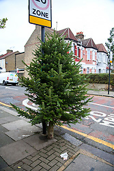 © Licensed to London News Pictures. 26/12/2020. London, UK. A Christmas tree is discarded in Haringey, north London on Boxing Day. Traditionally Christmas decorations including the tree are taken down on Twelfth Night after Christmas Day. Photo credit: Dinendra Haria/LNP