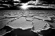 Sunset over salt formations at Badwater in Death Valley National Park, CA