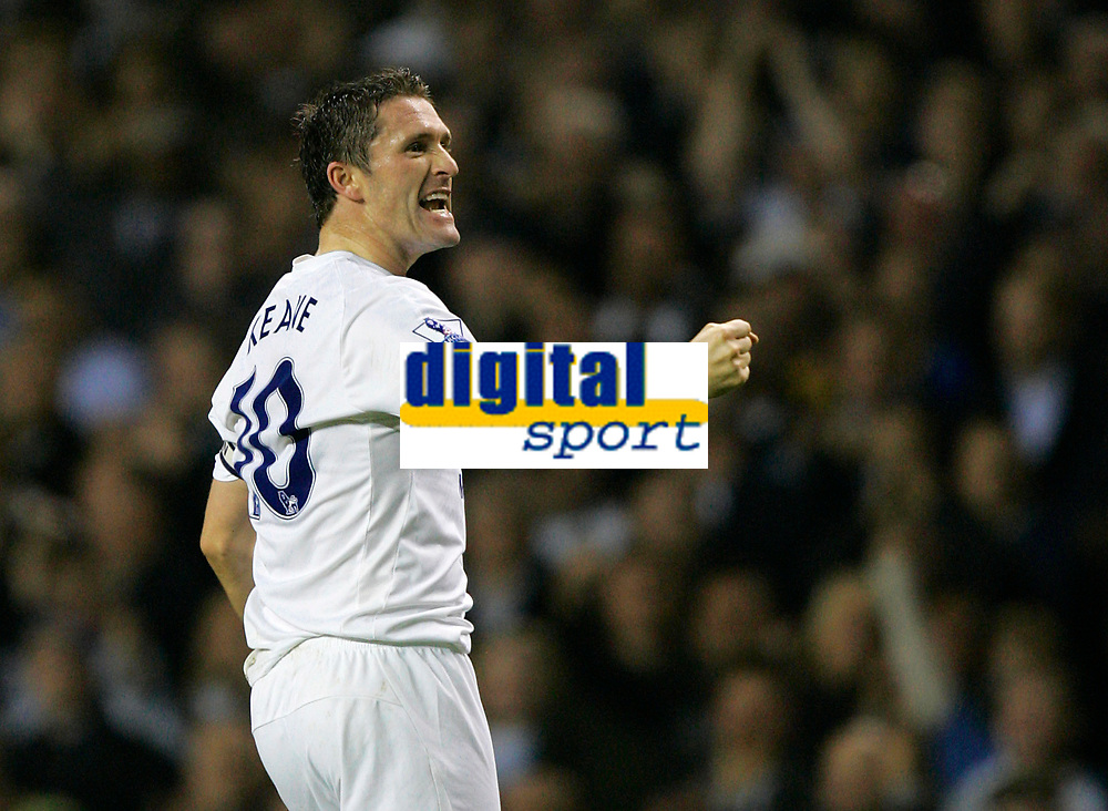 Photo: Tom Dulat.<br /> <br /> Tottenham Hotspur v Blackpool. Carling Cup. 31/10/2007.<br /> <br /> Robbie Keane celebrates his opener for Tottenham Hotspur, Tottenham leads 1-0