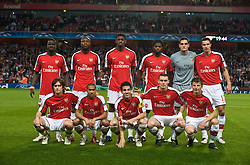 LONDON, ENGLAND - TUESDAY, SEPTEMBER 29th, 2009: Arsenal's team group before the UEFA Champions League Group H match at the Emirates Stadium Back row Lr-: Emmanuel Eboue, William Gallas, Abou Diaby, Alexandre Song Billong, goalkeeper Vito Mannone, Robin Van Persie. Front row L-R: Tomas Rosicky, Gael Clichy, Cesc Fabregas, Thomas Vermaelen, Andrei Arshavin. (Photo by Chris Brunskill/Propaganda)