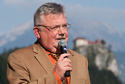 Janez Fajfar, mayor of Bled, during rowing at Slovenian National Championship and farewell of Iztok Cop, on September 22, 2012 at Lake Bled, Ljubljana Slovenia. (Photo By Matic Klansek Velej / Sportida)