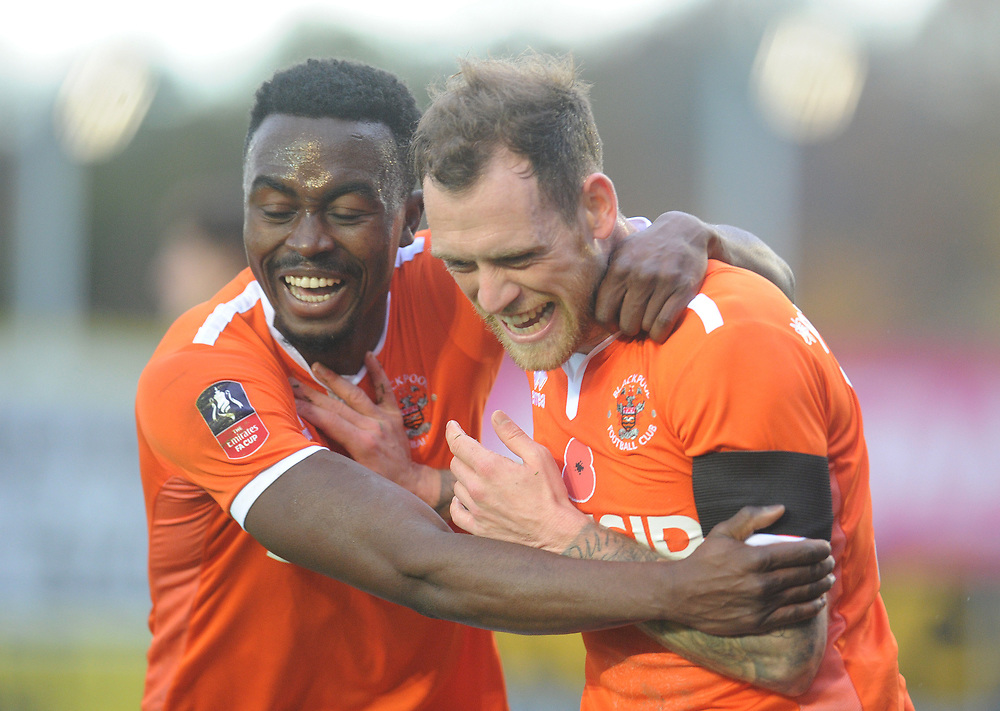 Blackpool's Harry Pritchard (right) celebrates scoring his side's third goal with team-mate Joe Dodoo<br /> <br /> Photographer Kevin Barnes/CameraSport<br /> <br /> Emirates FA Cup First Round - Exeter City v Blackpool - Saturday 10th November 2018 - St James Park - Exeter<br />  <br /> World Copyright © 2018 CameraSport. All rights reserved. 43 Linden Ave. Countesthorpe. Leicester. England. LE8 5PG - Tel: +44 (0) 116 277 4147 - admin@camerasport.com - www.camerasport.com