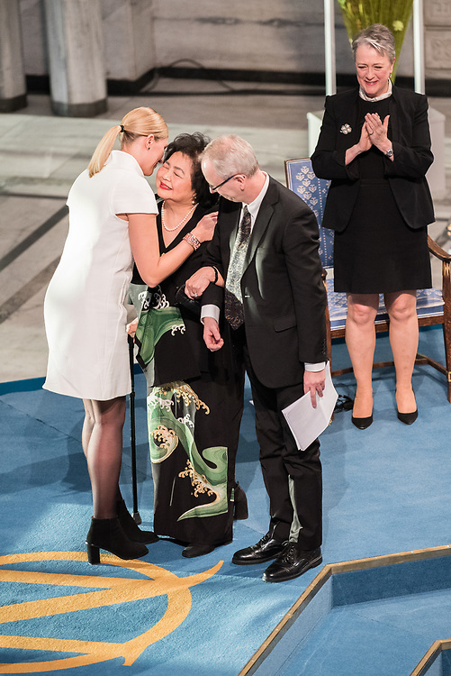 """10 December 2017, Oslo, Norway: Oslo City Hall hosts the Nobel Peace Prize award ceremony on 9-10 December 2017. The prize in 2017 goes to the International Campaign to Abolish Nuclear Weapons (ICAN), for """"its work to draw attention to the catastrophic humanitarian consequences of any use of nuclear weapons and for its ground-breaking efforts to achieve a treaty-based prohibition of such weapons"""". Here, ICAN executive director Beatrice Fihn congratulates Setsuko Thurlow."""