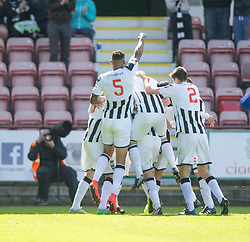 Dunfermline's Faissal El Bahktaoui (hidden) celebrates after scoring their first goal.  <br /> Dunfermline 5 v 1 Cowdenbeath, Scottish League Cup game played today at East End Park.