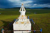 Mongolie, Arkhangai, la vallee de la Steppe Jaune, stupa, monuments bouddhistes // Mongolia, Arkhangai, Yellow Steppe valley, stupa, buddhist monument