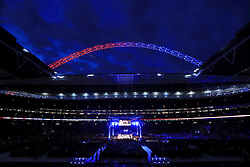 General view as Scott Quigg takes on Viorel Simion during their Eliminator for the IBF Featherweight Championship at Wembley Stadium, London.