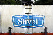 St. Ivel logo on old train tanker, Gloucestershire, United Kingdom