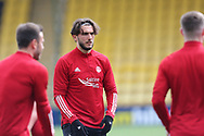 Aberdeen's Fraser Hornby (7) warming up during the Scottish Premiership match between Livingston and Aberdeen at Tony Macaroni Arena, Livingstone, Scotland on 1 May 2021.